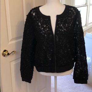 Pixley/Stirch Fix Black lace zippered jacket